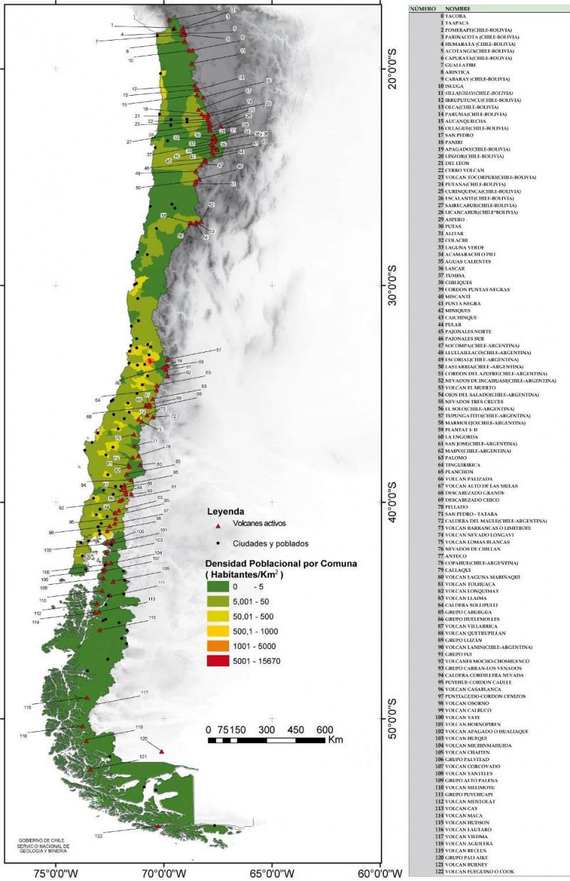 Volcanes de chile mapa for Mapa de santiago de chile