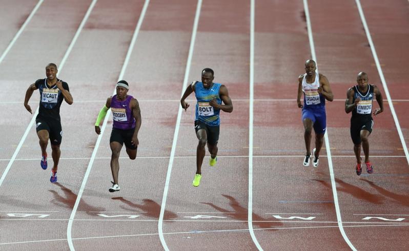 Usain Bolt compitiendo en la Liga Diamante en Londres.