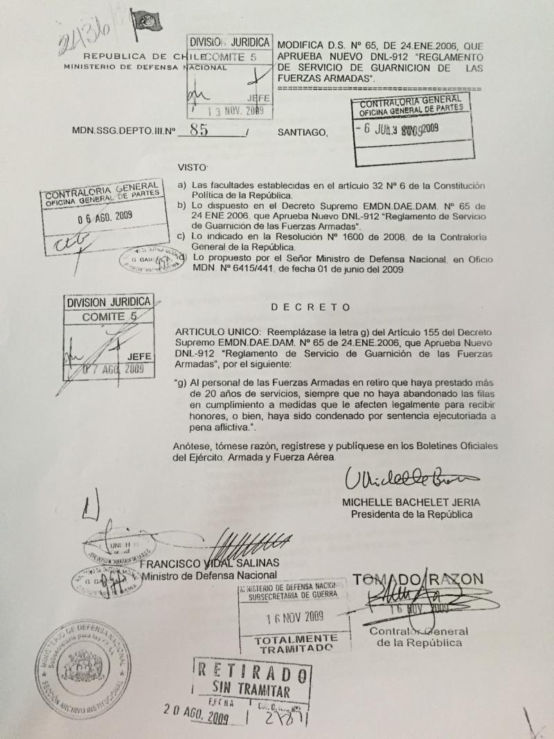 Decreto 85° del año 2009 impide honores a militares condenados