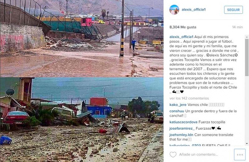 Alexis Sánchez, mensaje a Tocopilla por Instagram