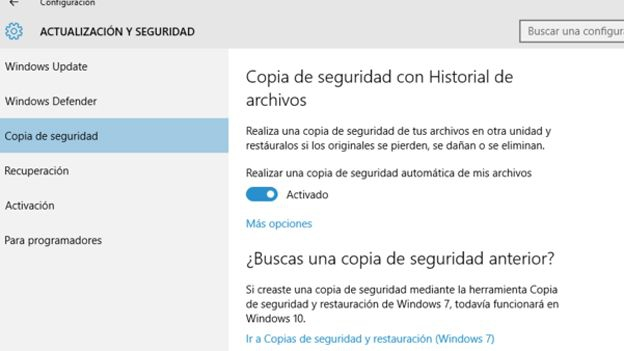 Copia de seguridad en Windows 10
