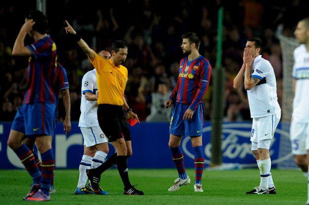 Barcelona ha sido la víctima más famosa al ser eliminado de la Liga de Campeones dos veces jugando contra 10 hombres como cuando ocurrió frente al Inter de Milán.