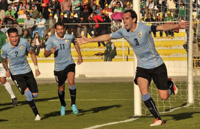 Diego Godín celebra el segundo del partido