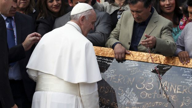 El papa Francisco habló con los mineros el pasado 14 de octubre en el Vaticano.