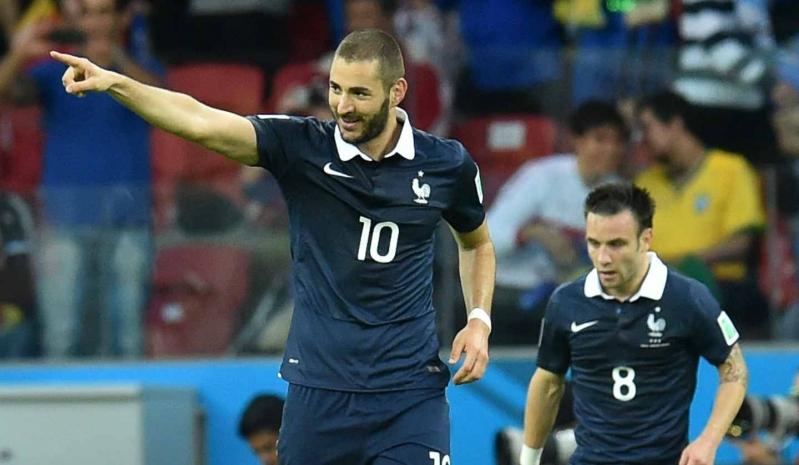 Benzema y Valbuena jugando por la selección francesa durante el Mundial de Brasil 2014