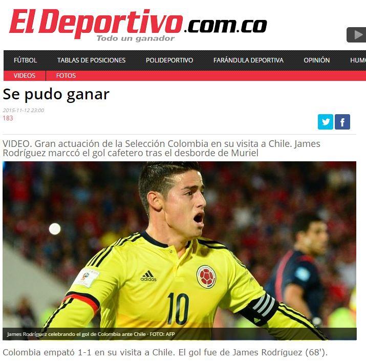 Prensa colombiana destaca a Muriel y James tras partido con Chile