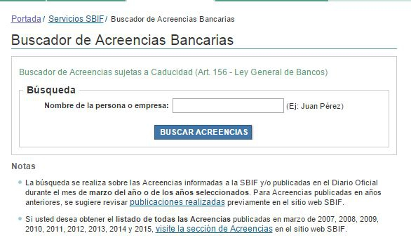 Acreencias bancarias 2016