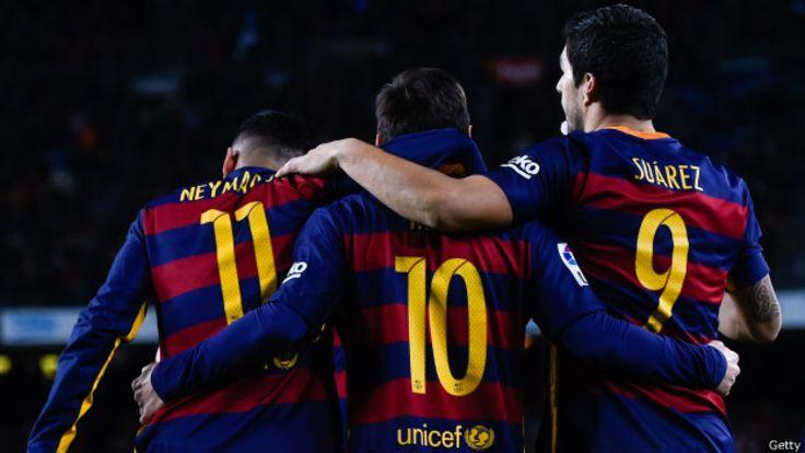 Messi, Neymar y Suárez han jugado 42% más que los delanteros del Manchester City; 57% más que los del Real Madrid y 63% más que los del Atlético de Madrid.