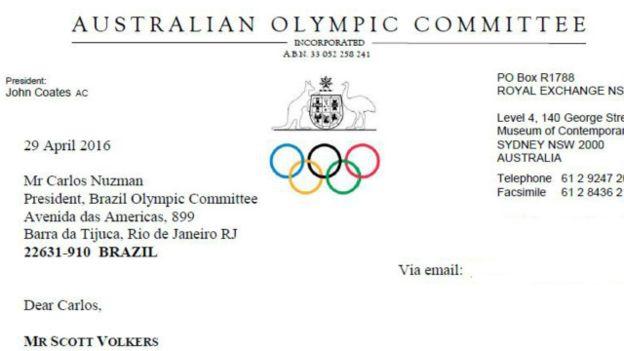 La carta oficial enviada por el Comité Olímpico Australiano a Carlos Arthur Nuzman, presidente del Comité Olímpico Brasileño.