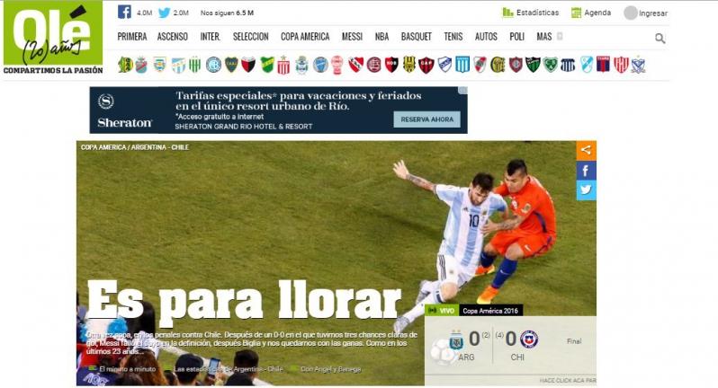 es para llorar as 237 reaccion 243 la prensa argentina tras la