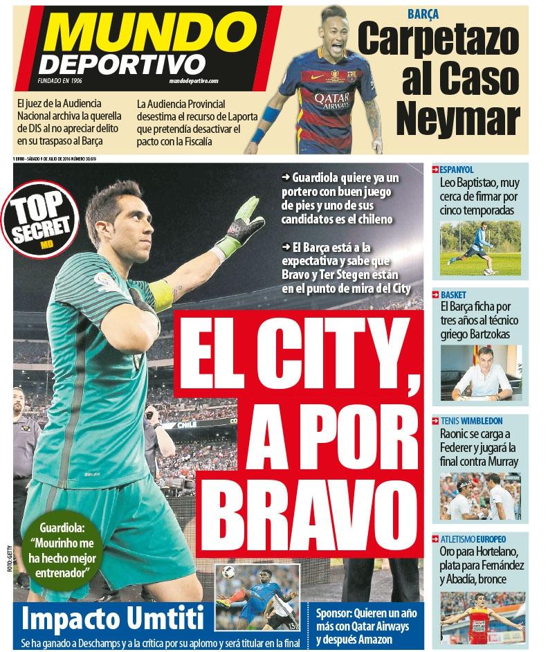 Diario español sostiene que Guardiola quiere a Claudio Bravo en Manchester City