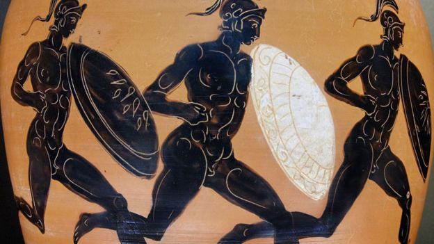 En algunas carreras de las Olimpiadas antiguas, que se celebraron de 776 a.C. hasta 393 d.C., los competidores llevaban armaduras.