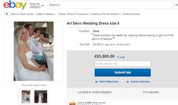 Samanta Wragg vende su vestido de novia en Ebay