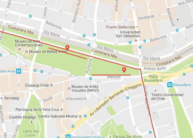 Mapa de lugares autorizados para instalar propaganda en Santiago