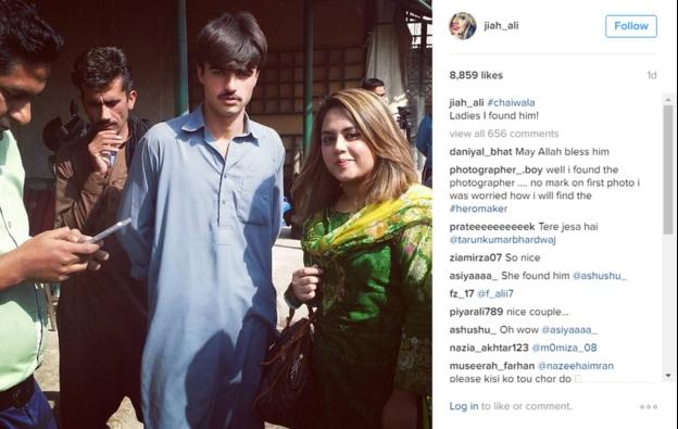 """La autora de la foto que lo lanzó a la fama, Javeria """"Jiah"""" Ali, se retrató junto al vendedor de té ahora convertido en modelo."""