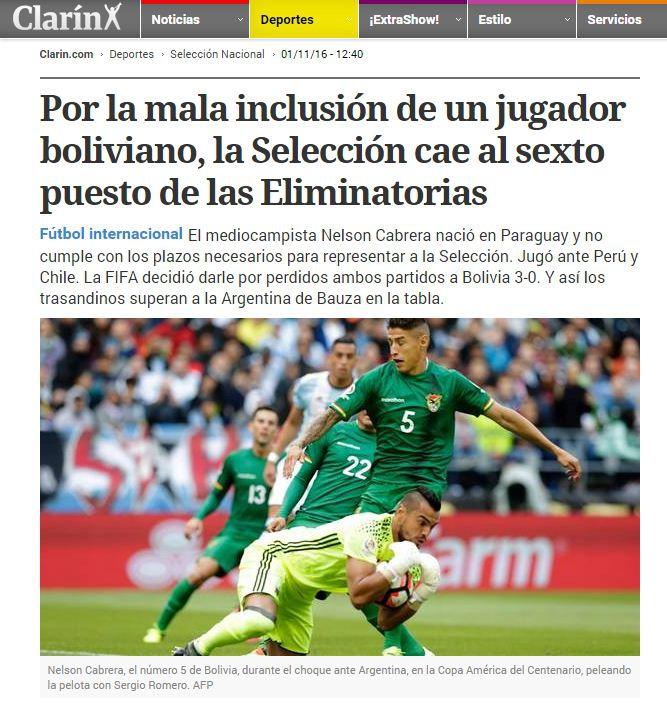 FIFA sancionó a Bolivia y metió en problemas a Argentina