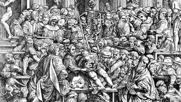 """Hay instituciones en las que prefieren que las disecciones las haga un profesor y los alumnos observen, un poco a la vieja usanza, como se ve en la portada del legendario """"De Humani Corporis Fabrica"""", de Andreas Vesalius, del siglo XVI."""
