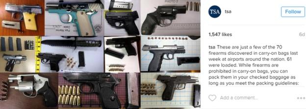 La TSA suele compartir en su cuenta de Instagram las pistolas y otras armas que confisca a pasajeros que tratan de embarcan en distintos vuelos.