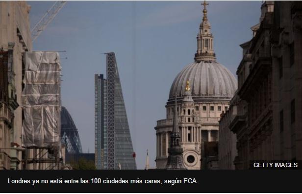 Londres ya no está entre las 100 ciudades más caras, según ECA.