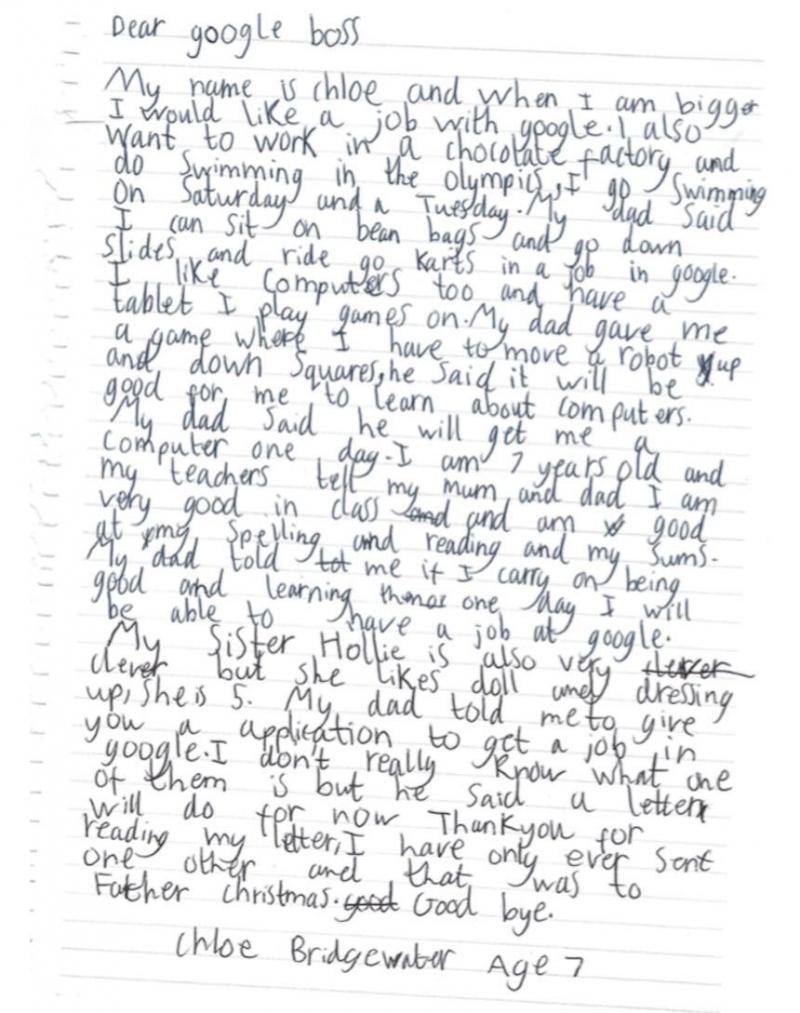 Carta de Chloe a Google
