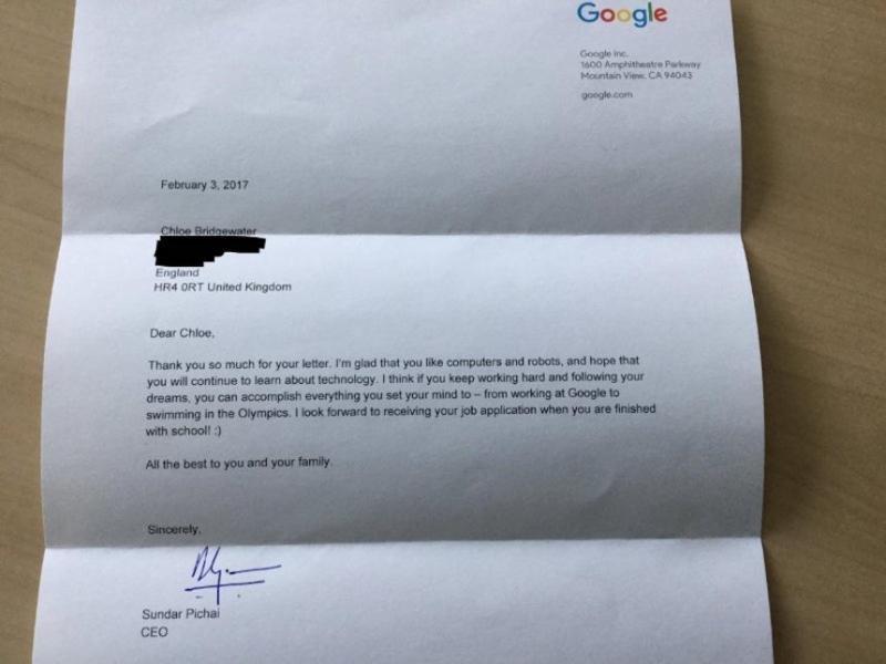 Respuesta Google a Chloe Brigewater