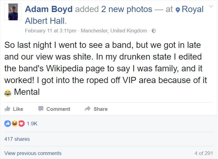 Comentó en su perfil de Facebook lo sucedido