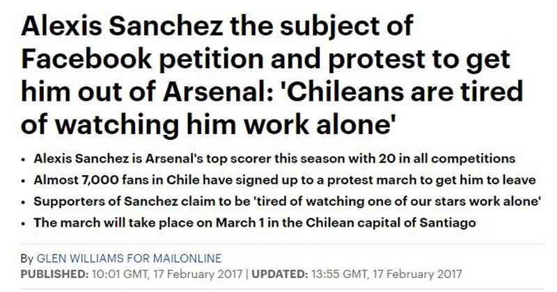 Campaña para que Alexis deje el Arsenal FC repercute en Inglaterra