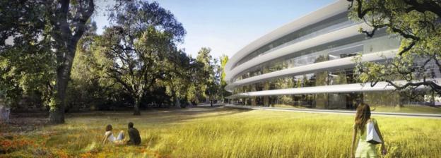El nuevo campus de Apple se construyó donde estaba antes la antigua sede de Hewlett-Packard.