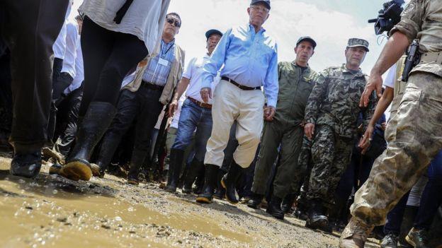 El presidente peruano, Pedro Pablo Kuczynski, visitó la región Piura el fin de semana, una de las más afectadas por El Niño costero.