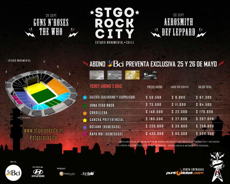 Comenzó la preventa para el festival Stgo Rock City