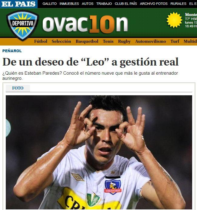 """Esteban Paredes: """"A mí me seduce muchísimo Peñarol"""""""