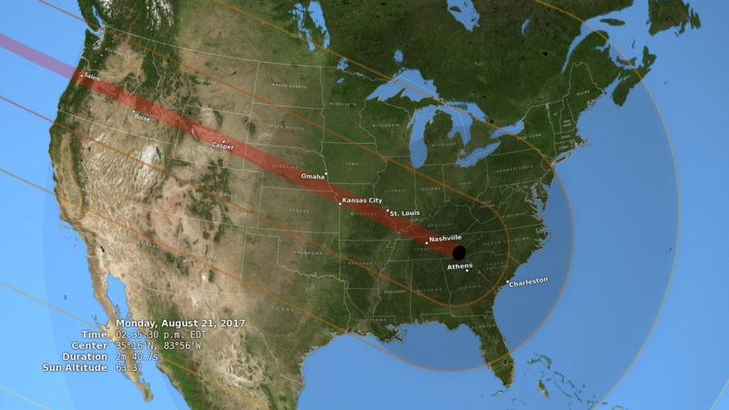 La trayectoria de la sombra del eclipse del 21 de agosto en Estados Unidos.