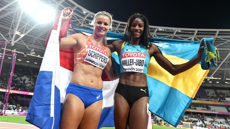 Dafne Schippers y Shaunae Miller Uibo     AFP