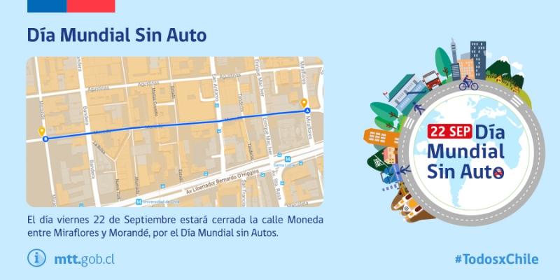 Cierran calle Moneda en Santiago para celebrar el Día Mundial sin Auto