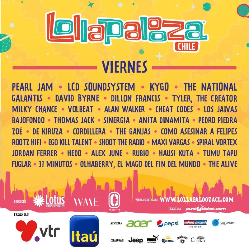 Preferência Lollapalooza Chile 2018: revisa cartel de artistas por día | Tele 13 XC48