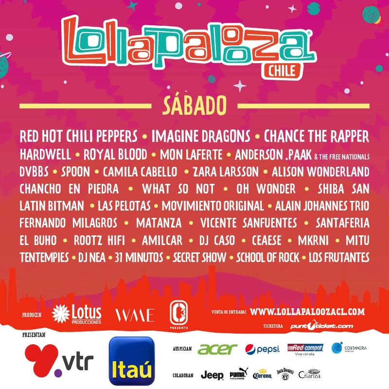 Famosos Lollapalooza Chile 2018: revisa cartel de artistas por día | Tele 13 TU96