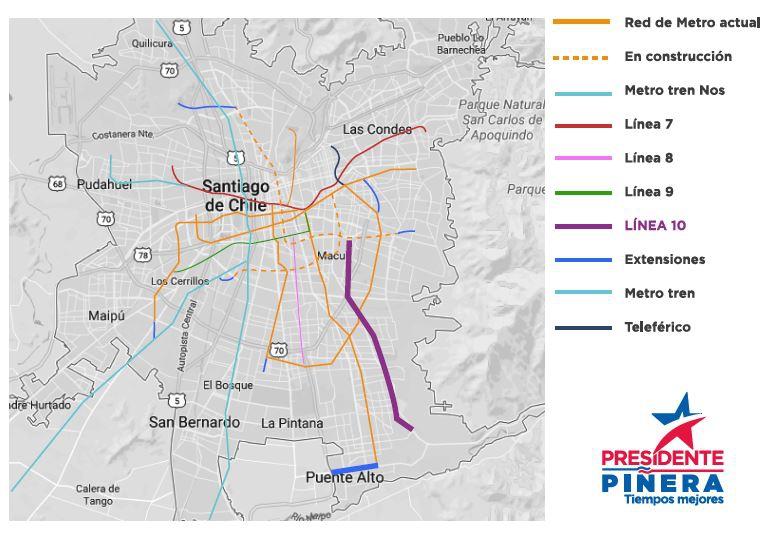 Piñera compromete Línea 10 del Metro y extensión de la Línea 4
