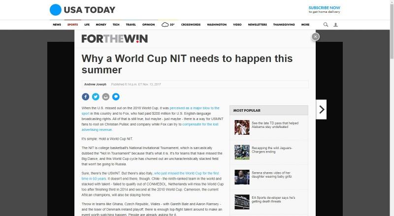 Nota de USA Today     Captura