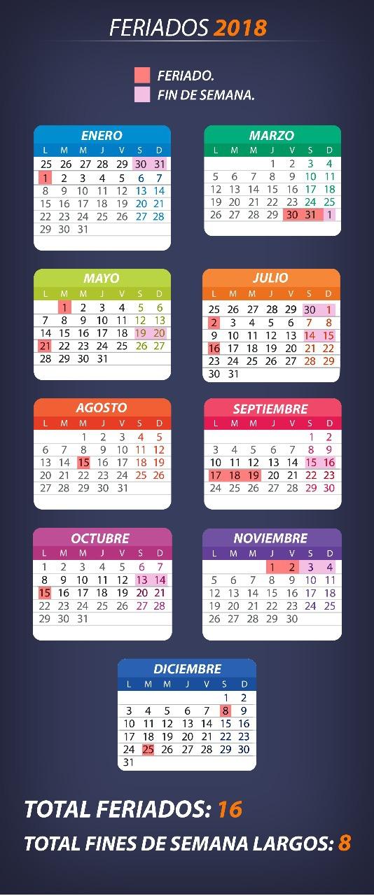 Calendario Diciembre 2018 Chile.Estos Son Todos Los Feriados Que Tendra 2018 Tele 13
