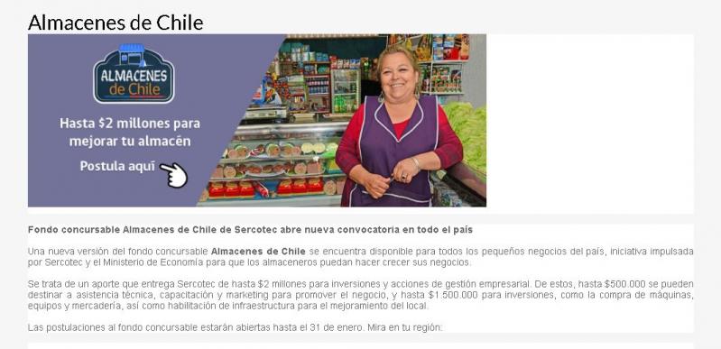Sercotec ofrece fondo para almaceneros