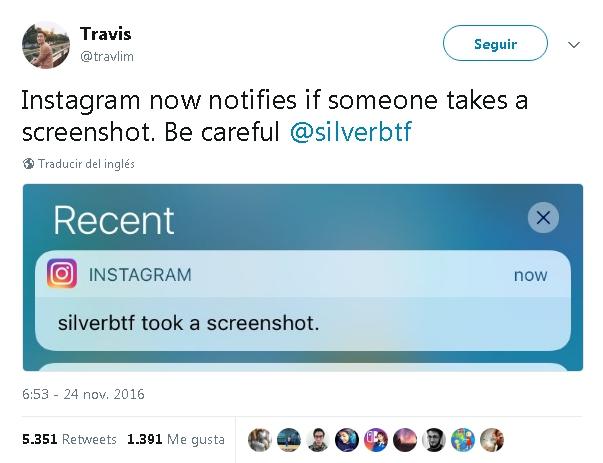 Instagram notificará cuando tomes una captura a una historia
