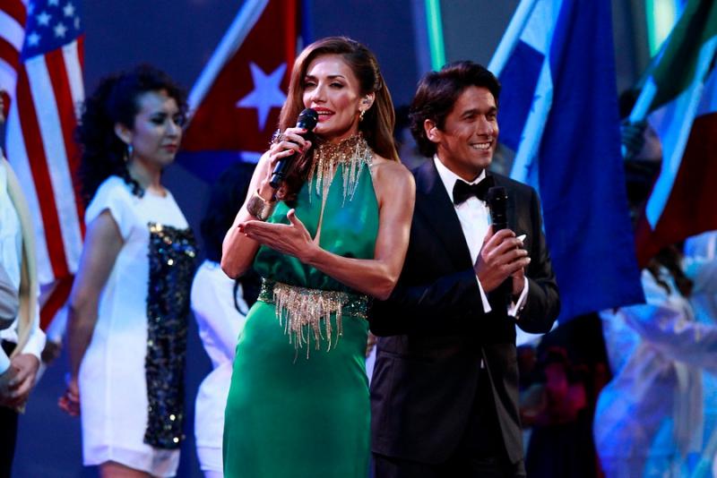 Carolina de Moras en su primera noche en el Festival de Viña del Mar, el 23 de febrero de 2014