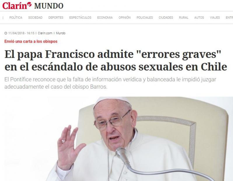Revelarán reacciones del Papa Francisco tras informe del caso Barros