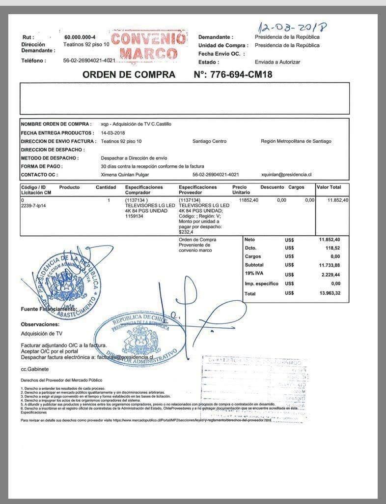 Gobierno compró televisor de $ 8,8 millones para Cerro Castillo