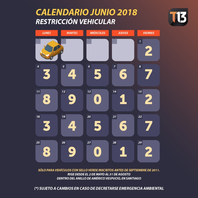 Calendario De Junio.Restriccion Vehicular Revisa El Calendario De Digitos De Junio