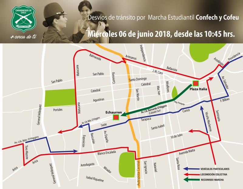 Marcha en Santiago: revisa el mapa