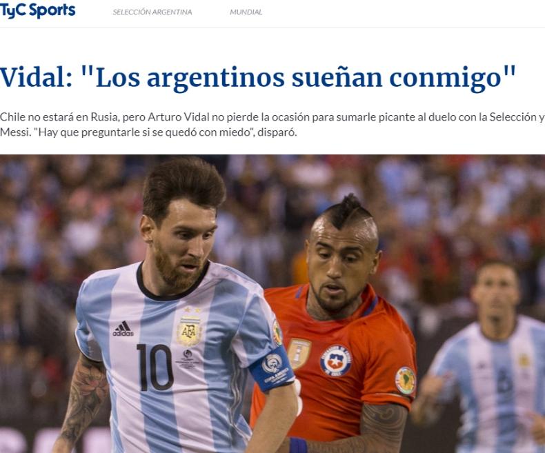 """[VIDEO] Medios argentinos """"prenden"""" con provocación de Arturo Vidal"""