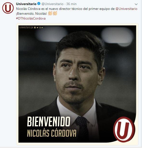Nicolás Cordova es presentado en la U de Lima