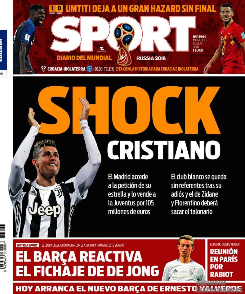 """[FOTOS] """"No habrá otro igual"""": Cristiano Ronaldo desplaza a Francia de portadas de este miércoles"""