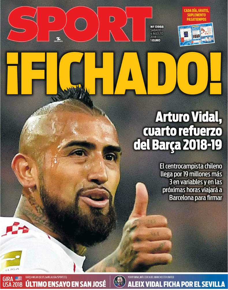 "[FOTO] ""¡Fichado!"": La portada de Sport tras concretarse la llegada de Vidal a FC Barcelona"